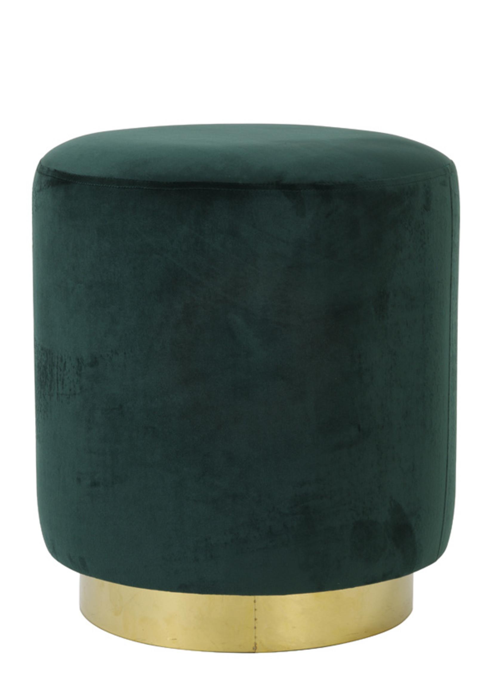 Light & Living Poef dia 40x44cm NADIEN velvet donker groen