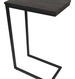 Moods Collection Bijzet-laptoptafel zwart acacia + staal 41x26x66
