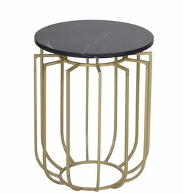 Moods Collection Bijzettafel goud zwart marmer
