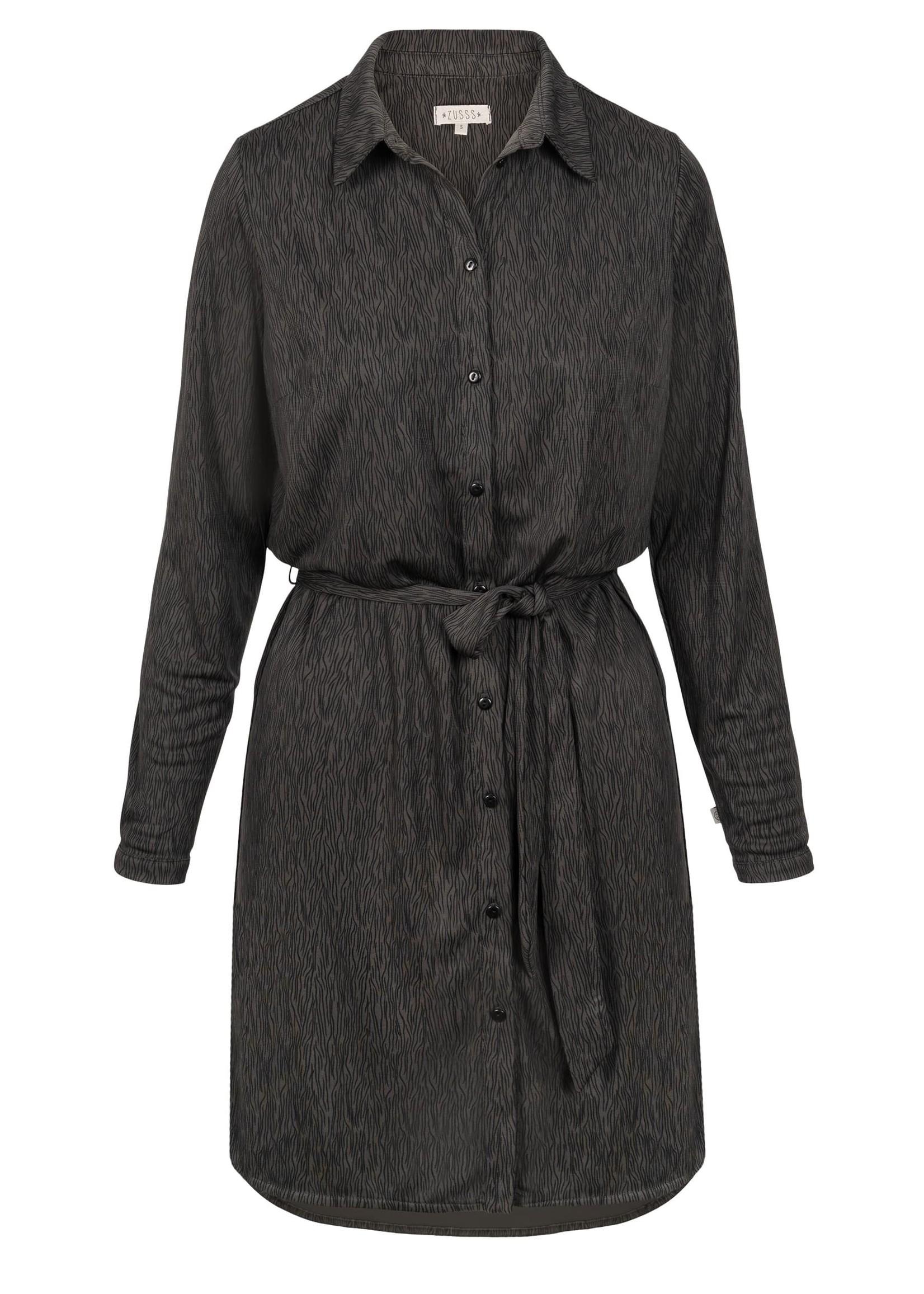 Zusss Blouse jurk met print grafiet xl