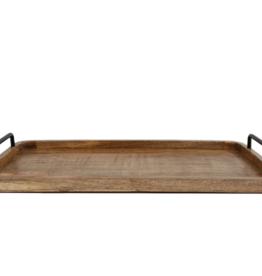 Dienblad handvat metaal L naturel hout 60x33x2.5cm