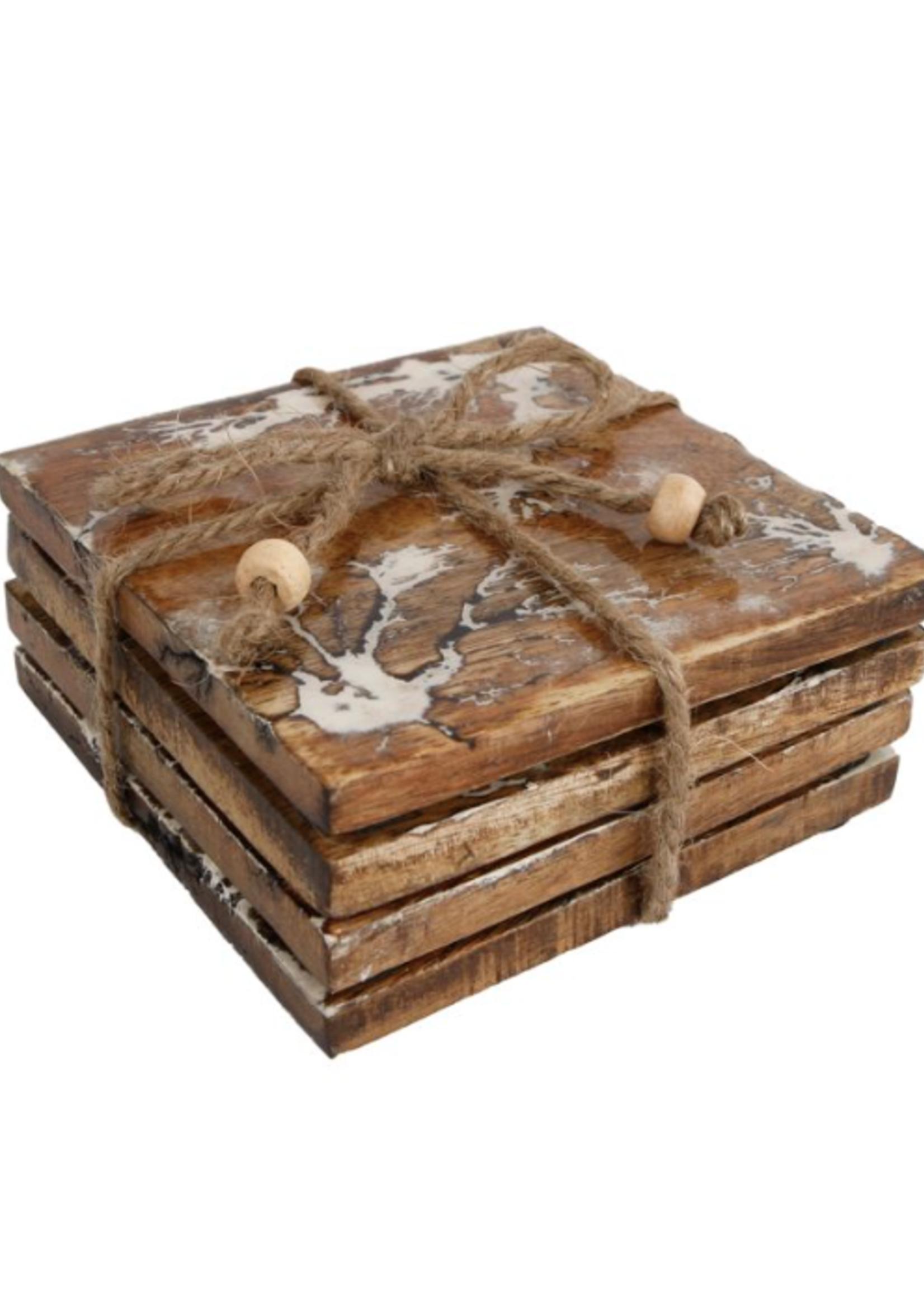 Onderzetters Emaille craquelle wit hout 10x10x4cm