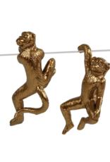 Sculptuur hanging monkey goud 4x3x7cm
