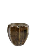 Theelicht Wout S d.groen glas 8x8x8cm