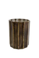 Theelicht Wout M d.groen glas 8x8x10cm