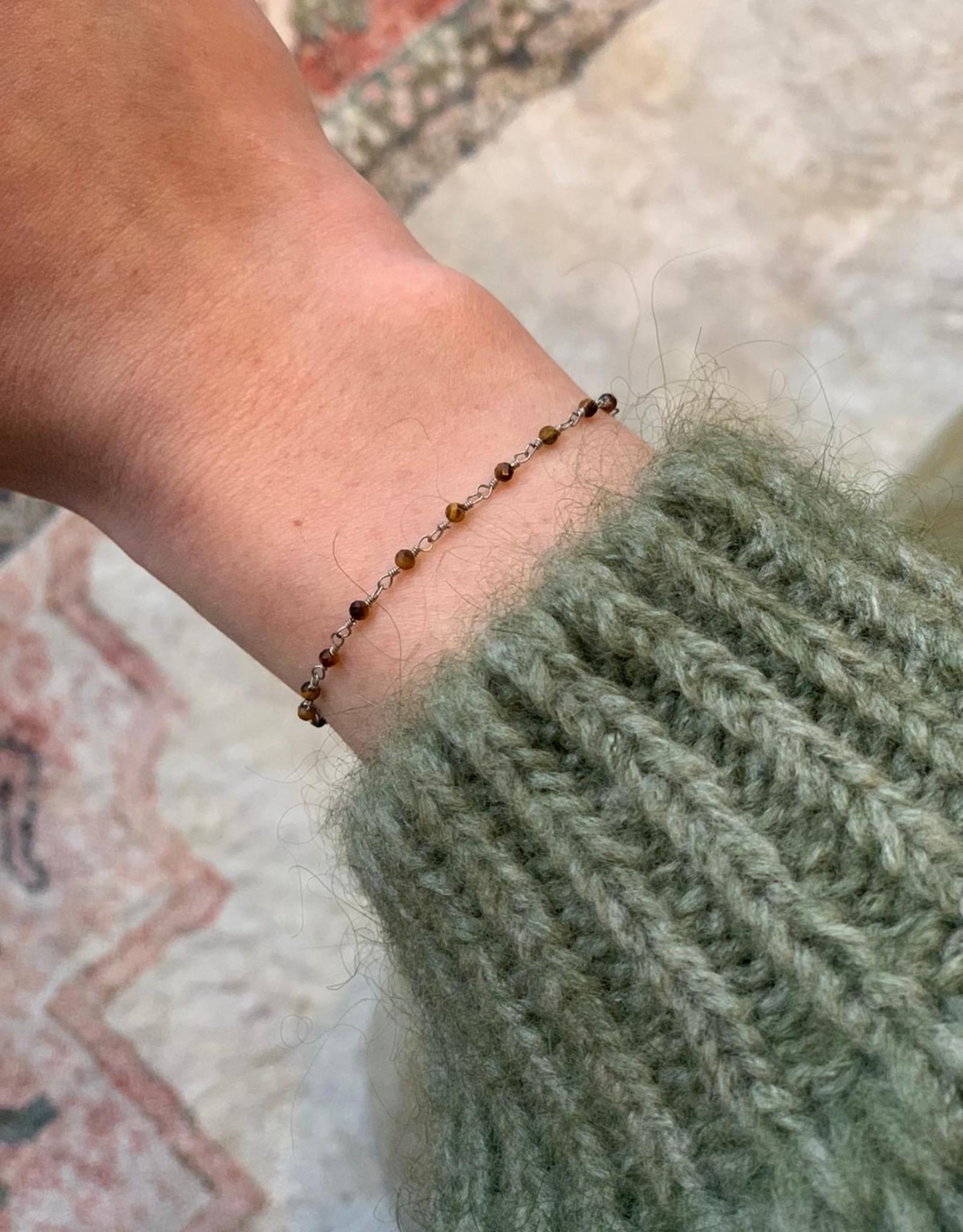 ZAG Bijoux Bracelet - Acier marron - siver brown - oeil de tigre
