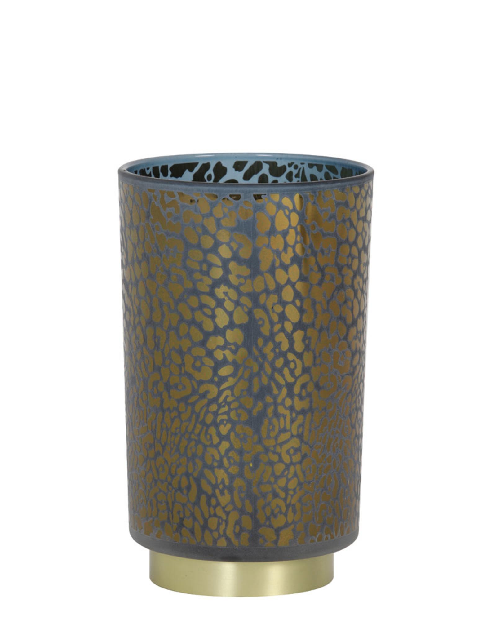 Light & Living Tafellamp LED 12x18cm LEOPARD glas blauw
