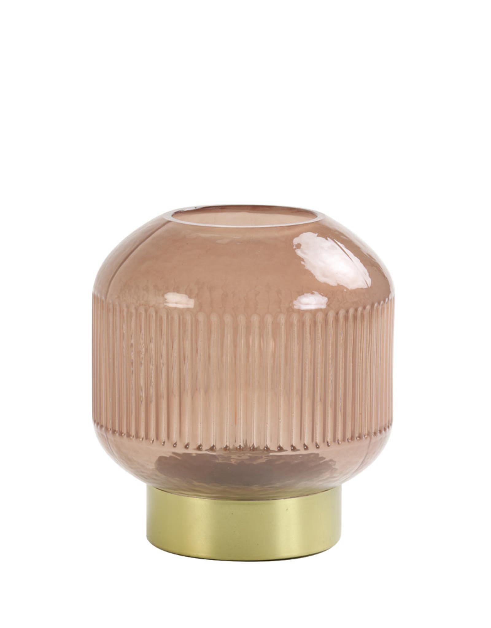 Light & Living Tafellamp LED 14,5x13cm TINGO glas oud roze + brons