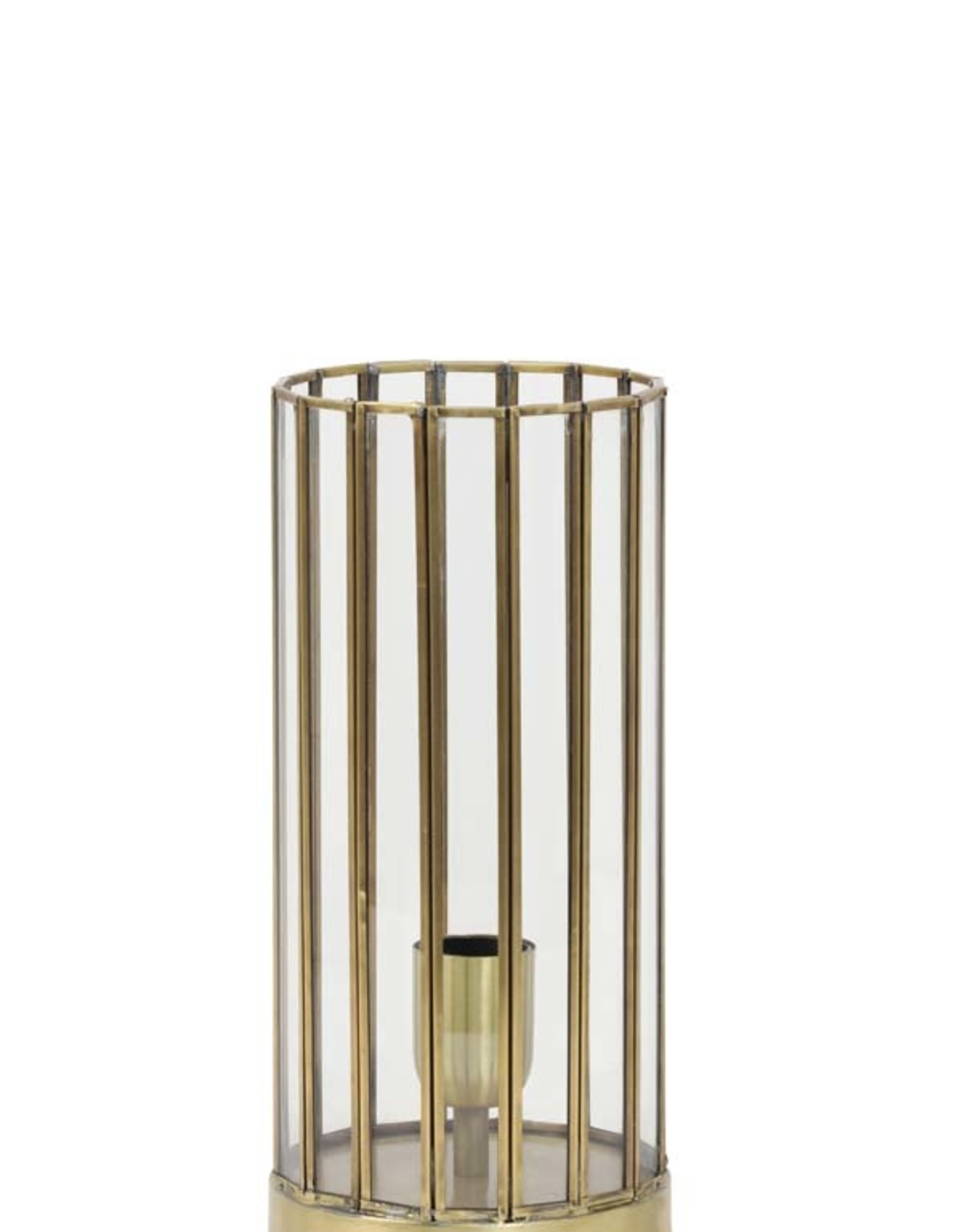 Light & Living Tafellamp 15x30cm STROBY antiek brons+glas
