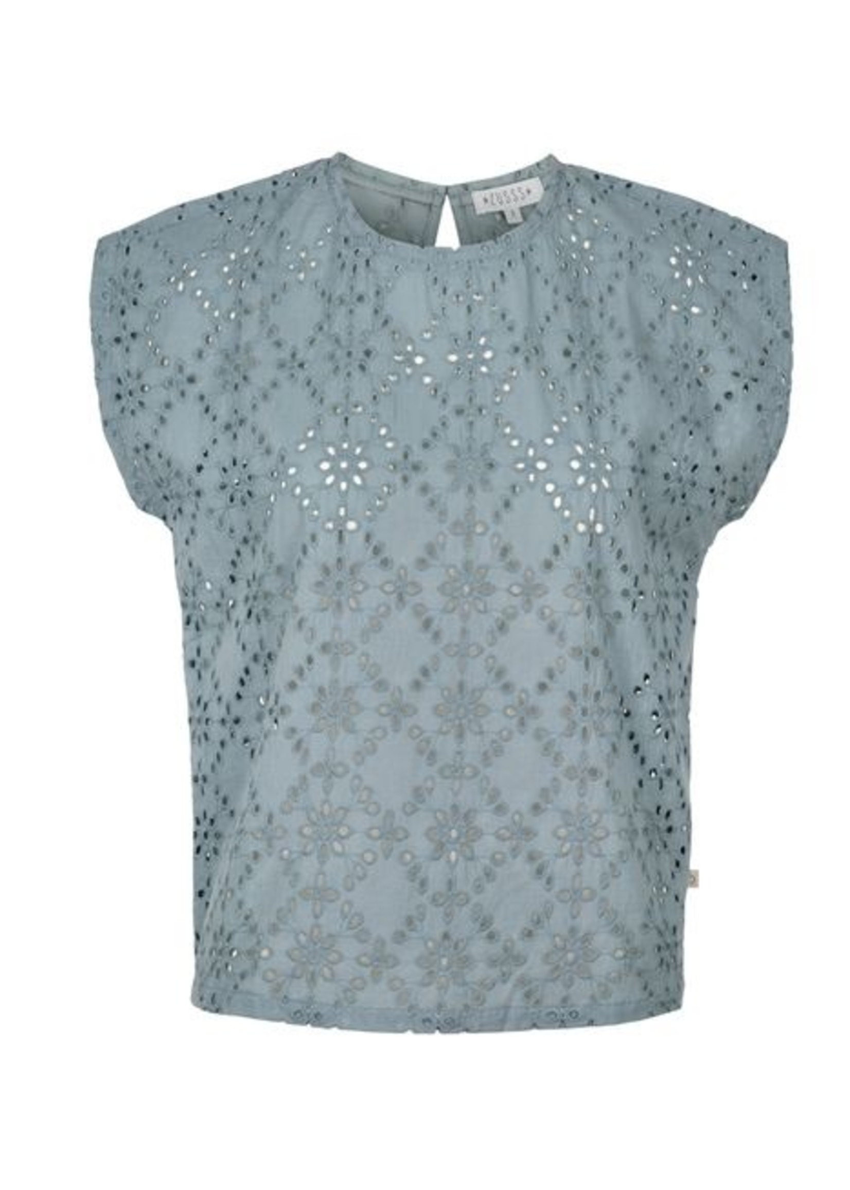Zusss Broderie blouseje grijs-blauw