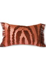 HK living Fringed  velvet tiger cushion red (25x40)
