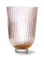 HK living Glass vase ribbed peach