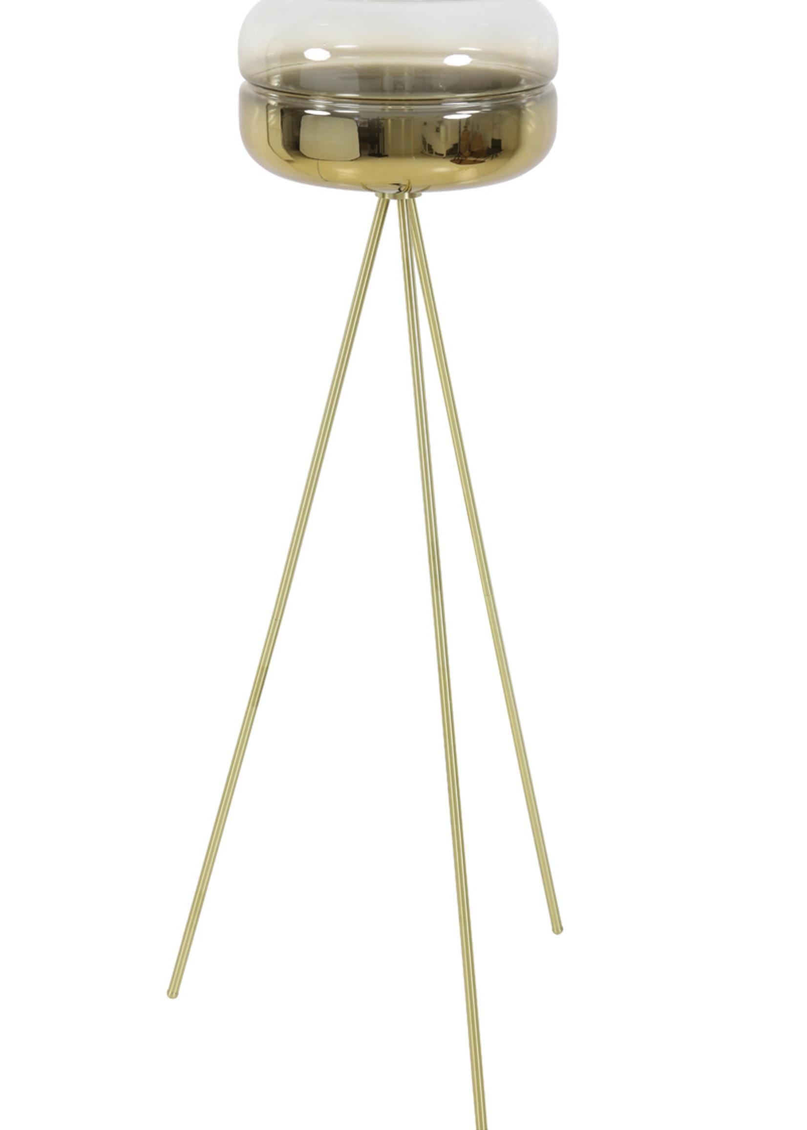 Light & Living Vloerlamp tripod Ø40x140 cm CHERLE glas goud+mat goud