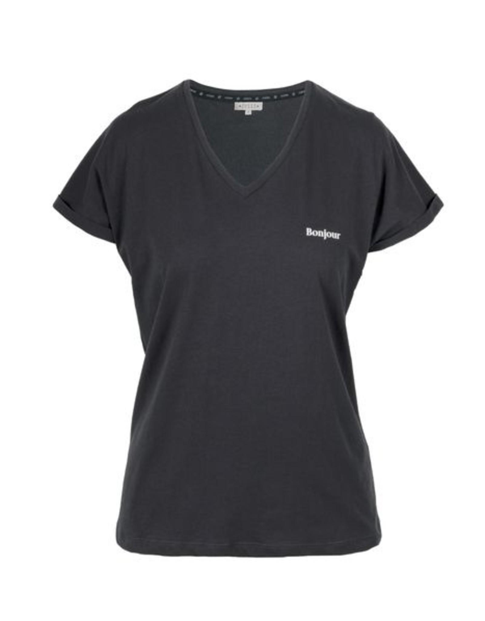 Zusss Basic t-shirt met V-hals bonjour grafietgrijs