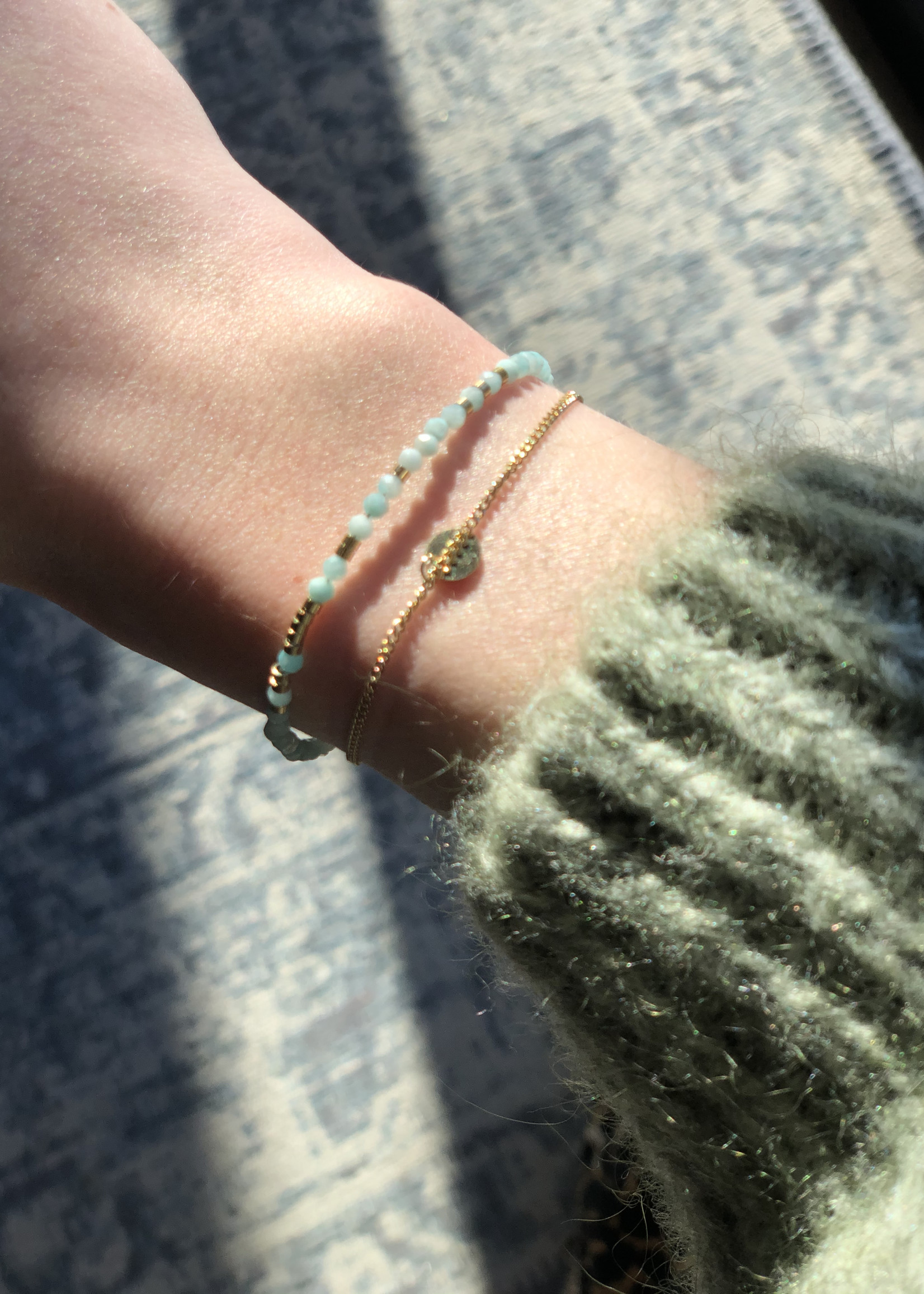 ZAG Bijoux SBS8439 bracelet DORE aqua - gold aqua - amazonite