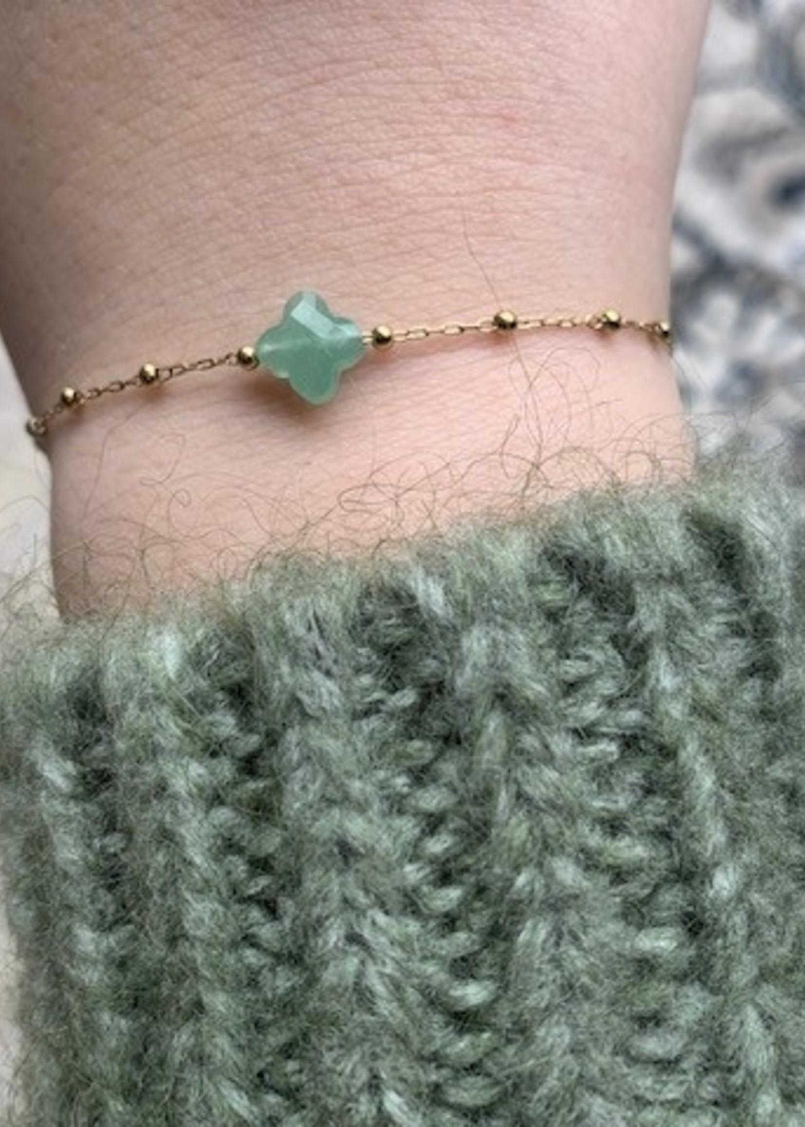 ZAG Bijoux Bracelet DORE vert clair - gold light green - aventurine