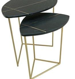 Moods Collection Marmeren zwart bijzettafels met gouden inleg