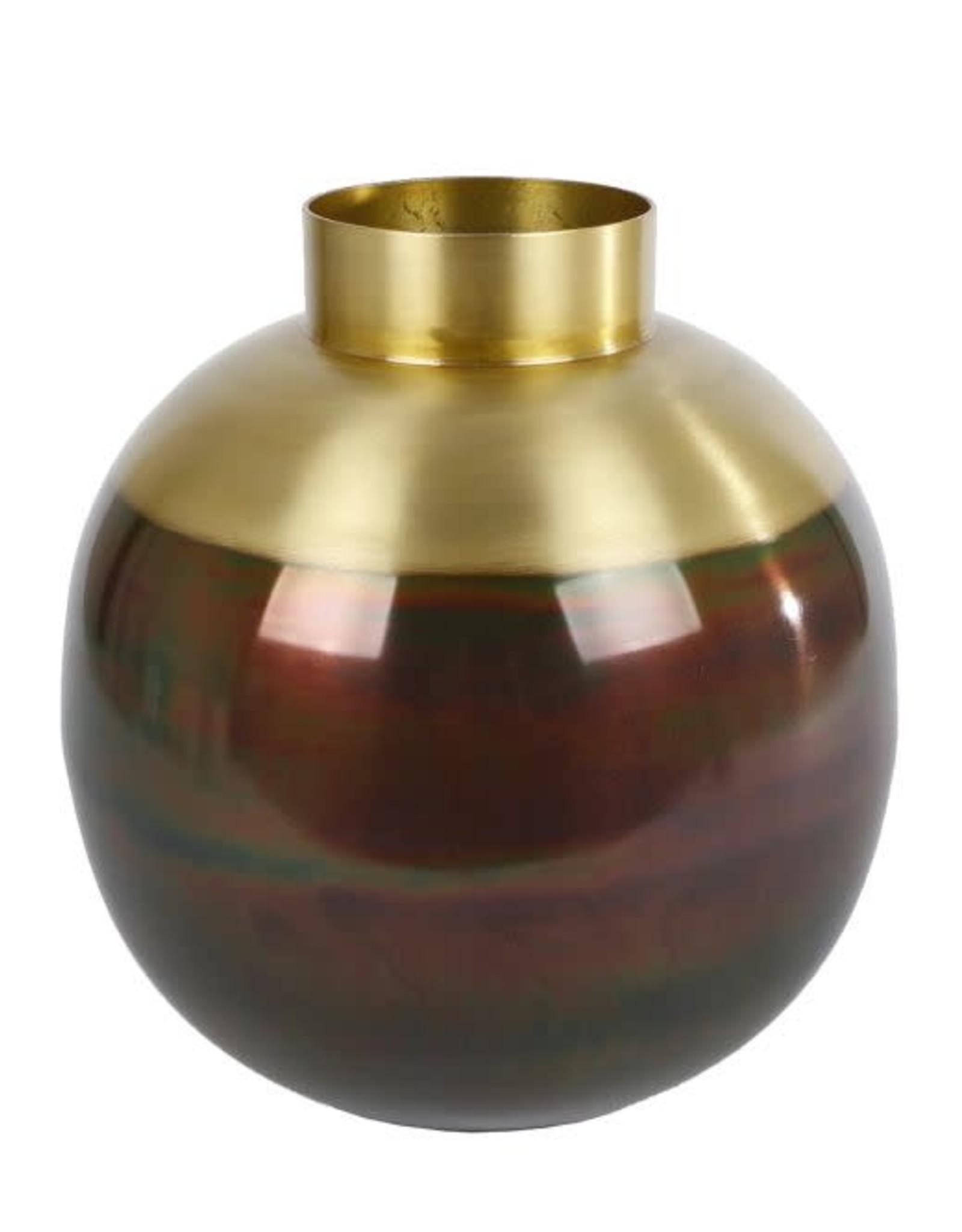 Vaas rond Michel goudaluminium 25,5x25,5x27cm
