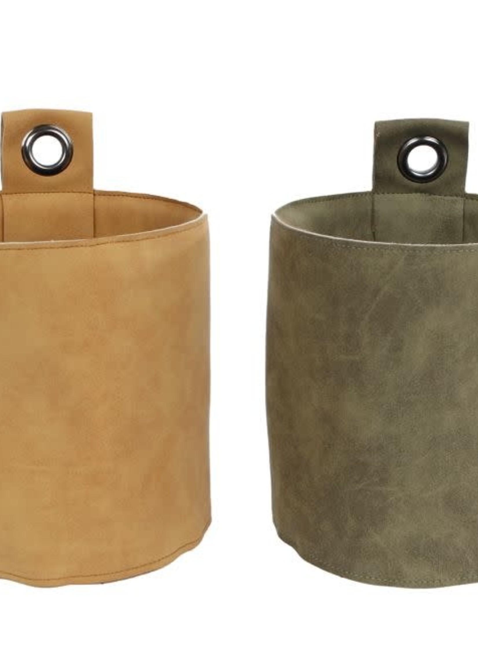 Wandhangpot Koen a2 leatherlook amber/groen 12,5x12,5x14cm