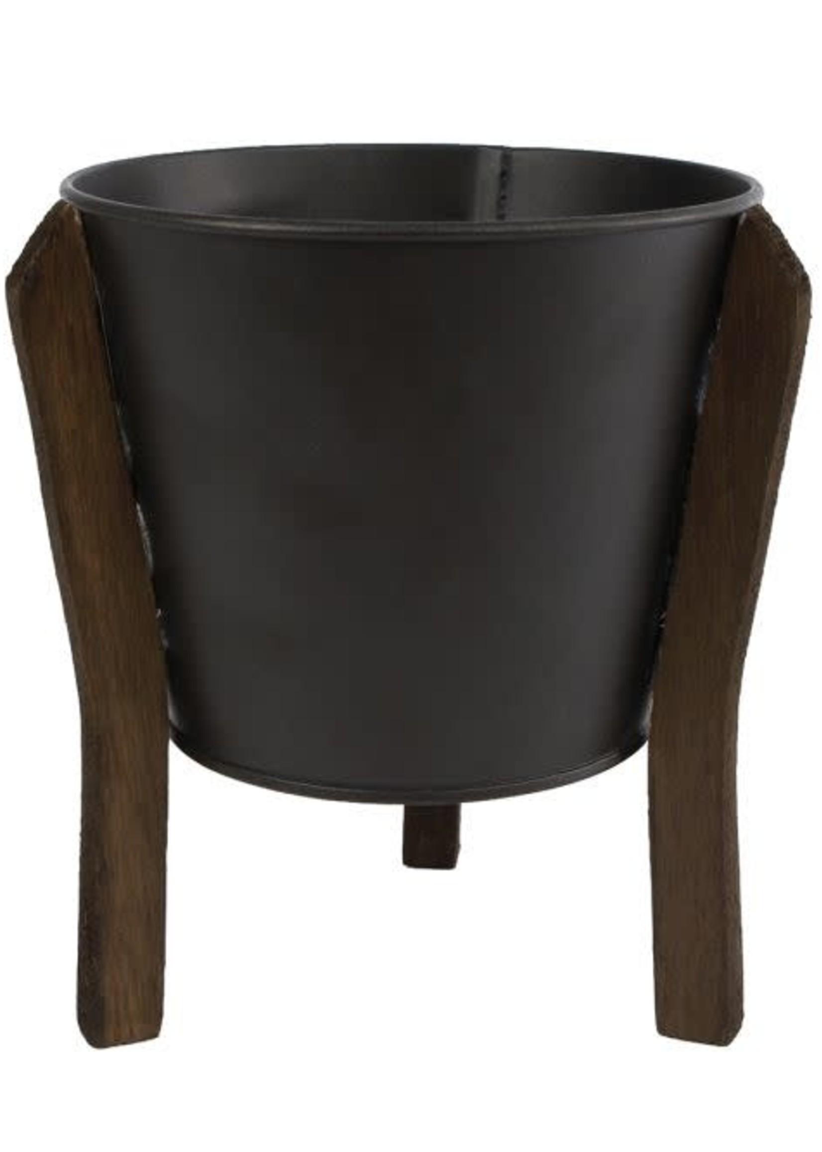 Bloempot Jan L zwart metaal pot 12 14x14x18cm