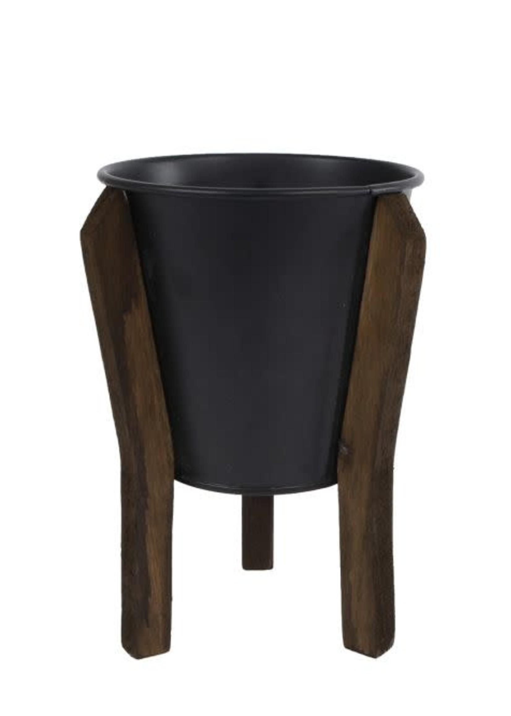 BloempotJan S zwart metaal pot 10,5 12x12x17cm