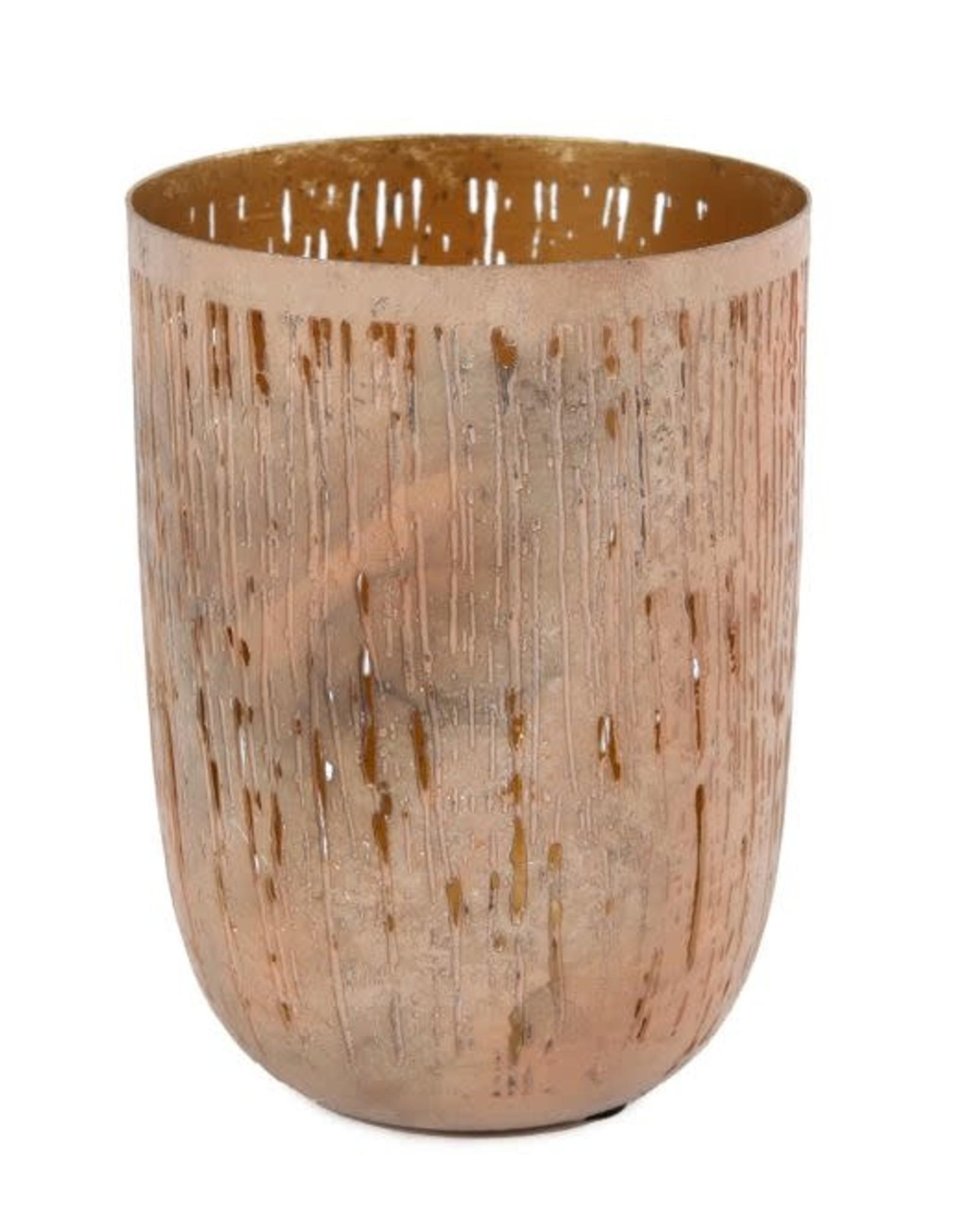Sfeerlicht open metaal kom cilinder oud roze/goud dia 10x14