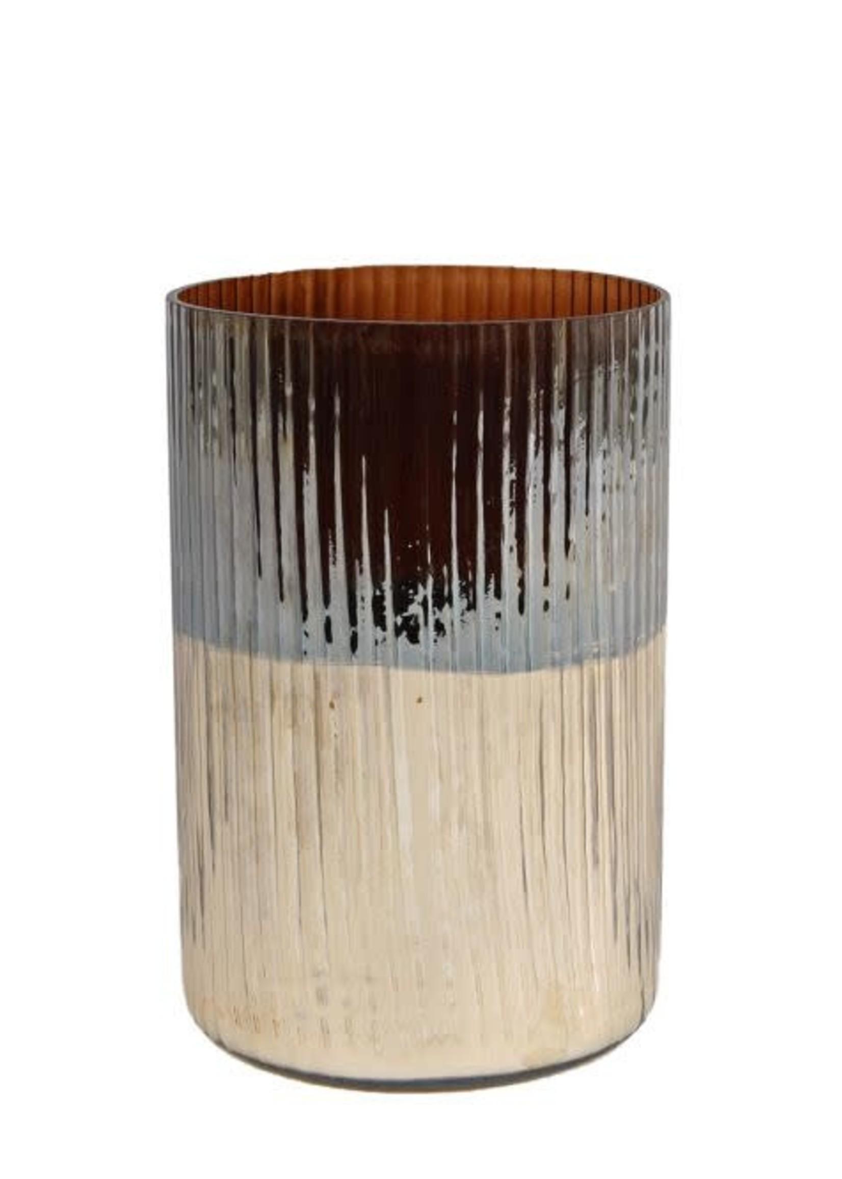 Windlicht rond Ralf M bruin/goud glas 10x10x15cm