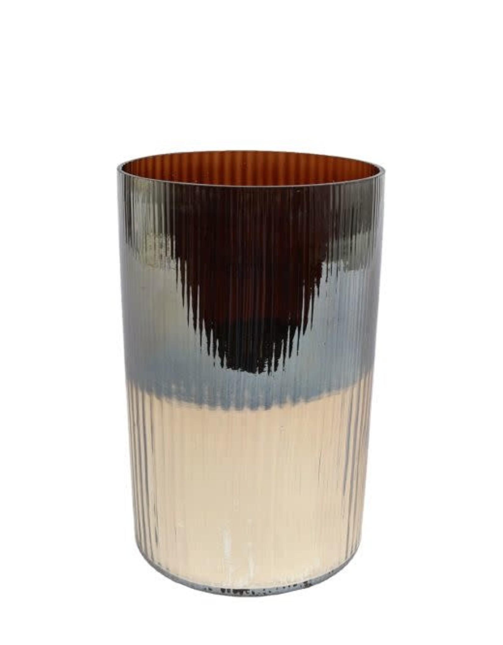 Windlicht rond Ralf L bruin/goud glas 12,5x12,5x20cm