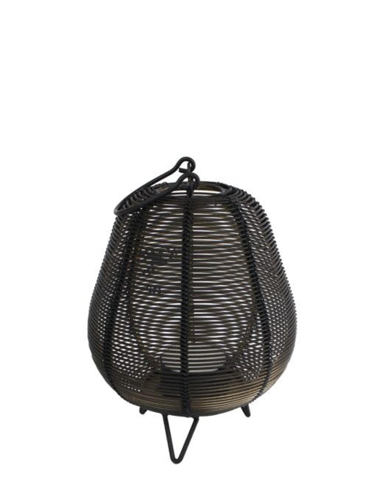 Windlicht Romy S zwart/goud metaal 10x10x13cm