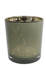 Theelichth Lena S groen/goud glas 7x7x8cm