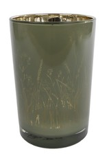 Theelichth Lena L groen/goud glas 12x12x18cm