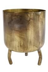 Bloempot Luca  L oud goud metaal  pot 12 14,5x14,5x16,5cm