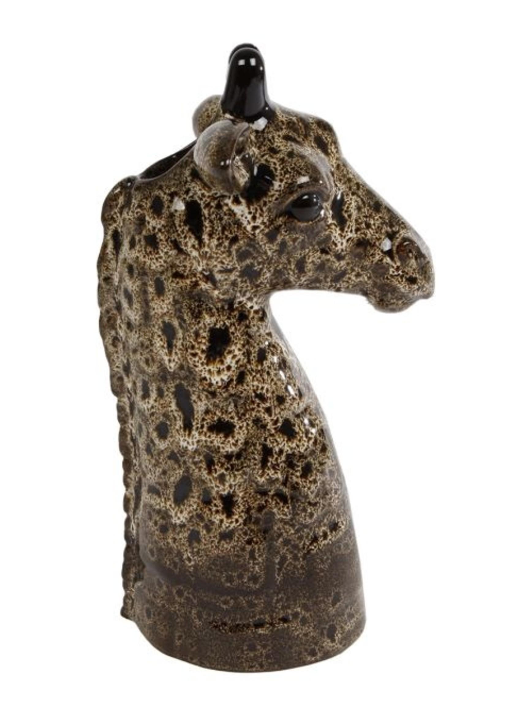 Vaas Giraffe L bruin aardew  13x13x24cm