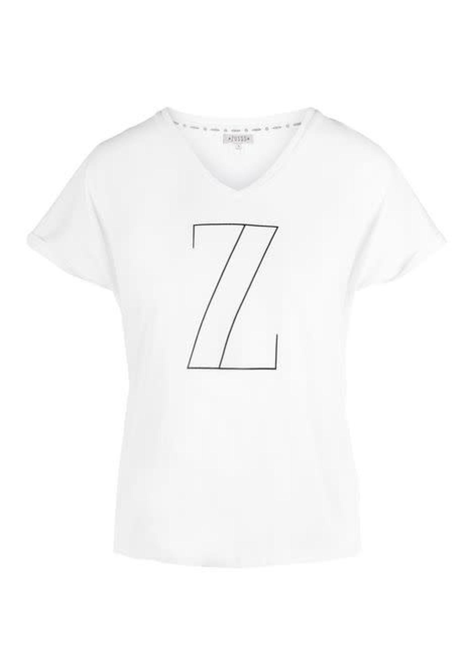 Zusss basic t-shirt met V-hals Z wit