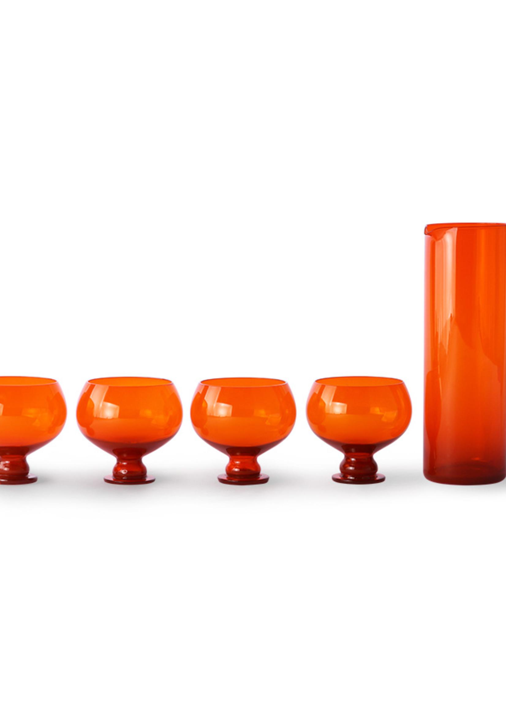 HK living Funky orange glassware set
