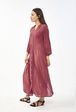 By Bar Amsterdam Loulou smocked dress bright plum