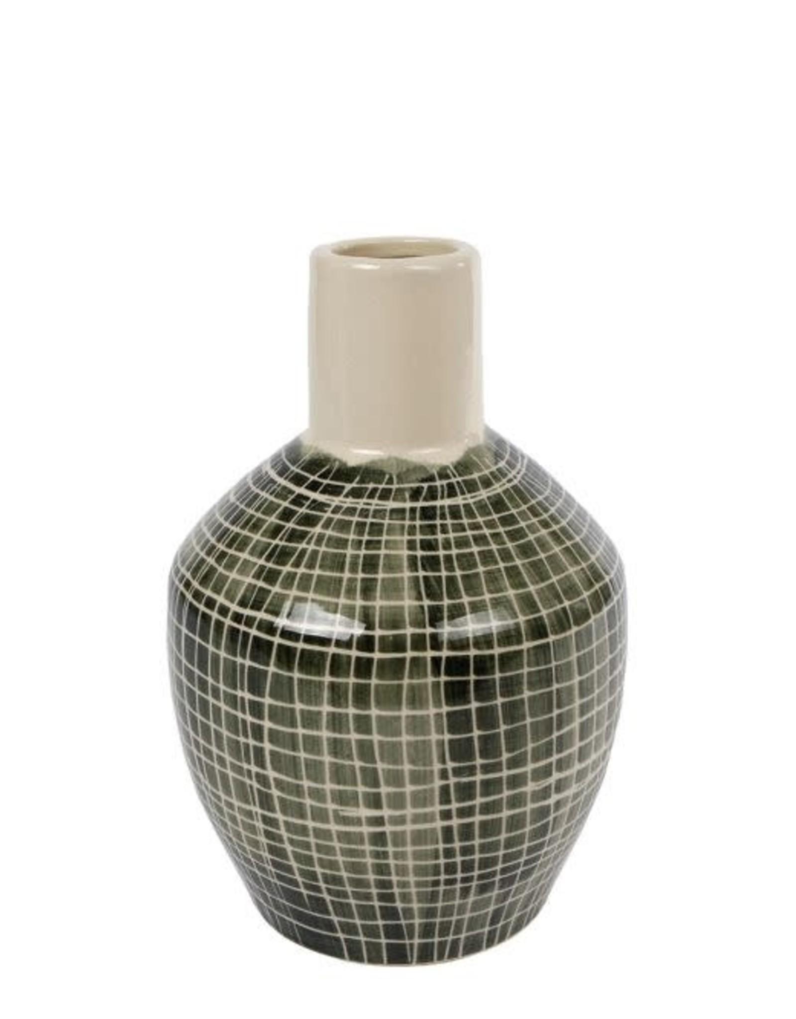 Vaas Frans S groen aardew 14x14x21