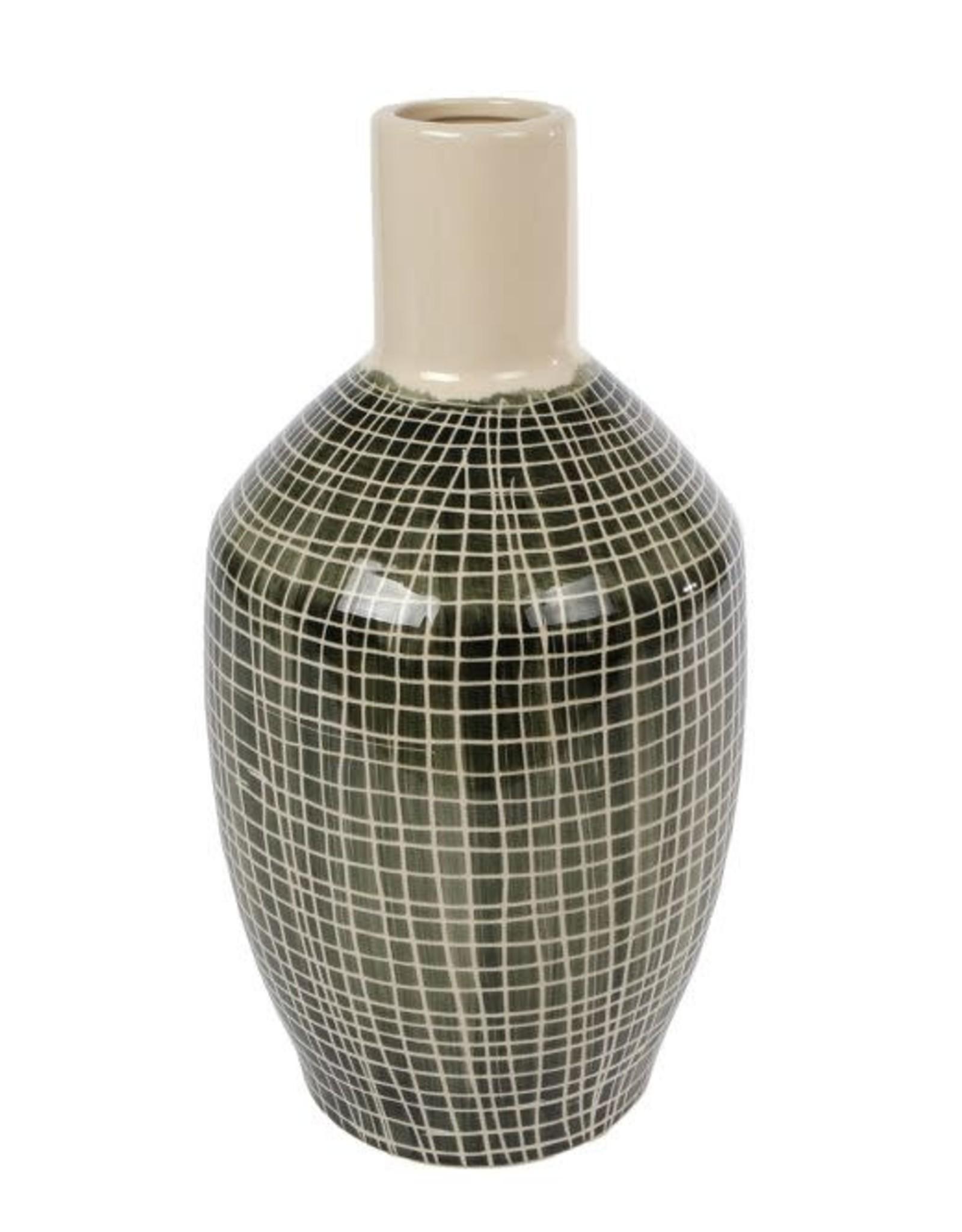 Vaas Frans L groen aardew 16x16x31,5