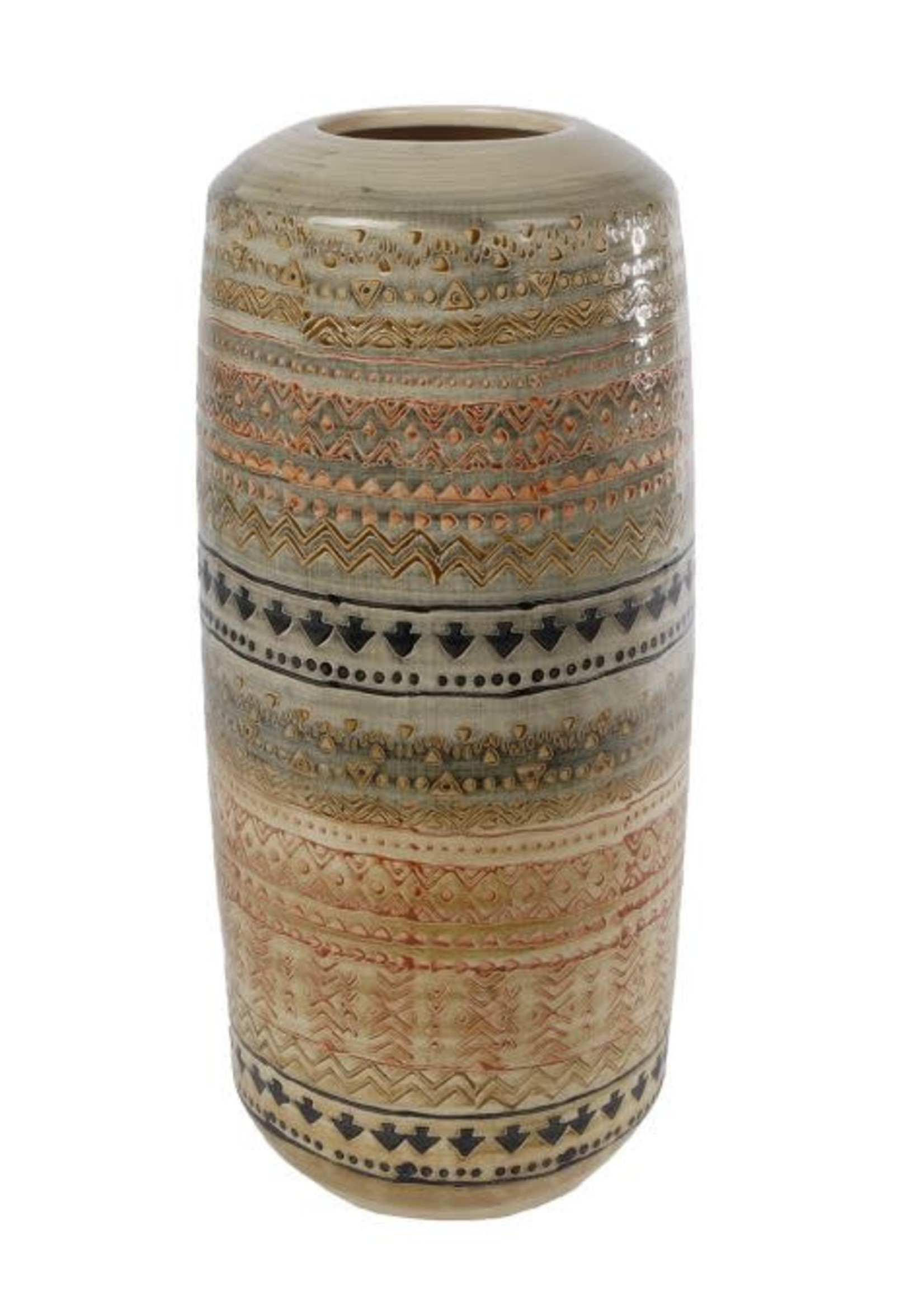 Vaas Inca L beige aardew 18,5x18,5x40,5