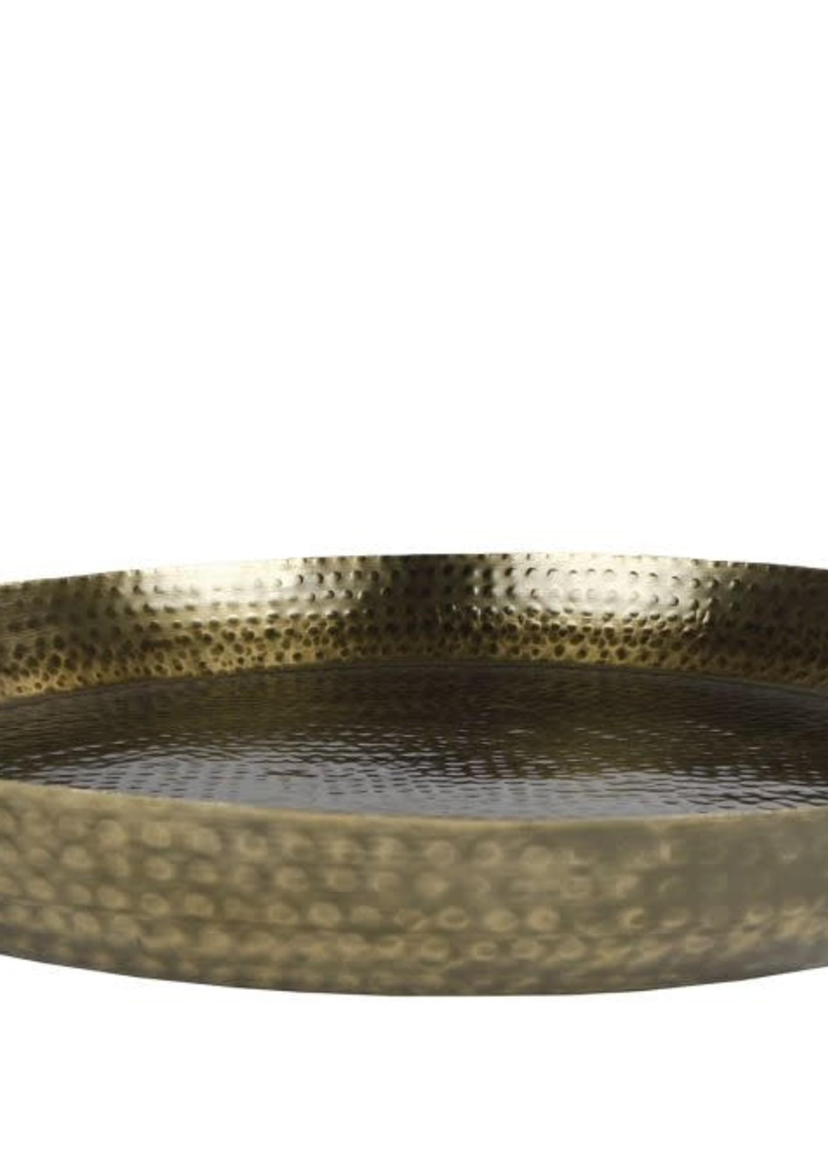 Dienblad Lara L goud metaal 52x52x3