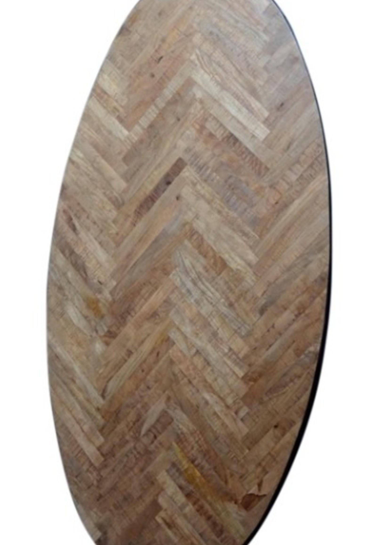 Moods Collection Visgraat tafel ovaal zwarte rand/poten staal 240x110cm