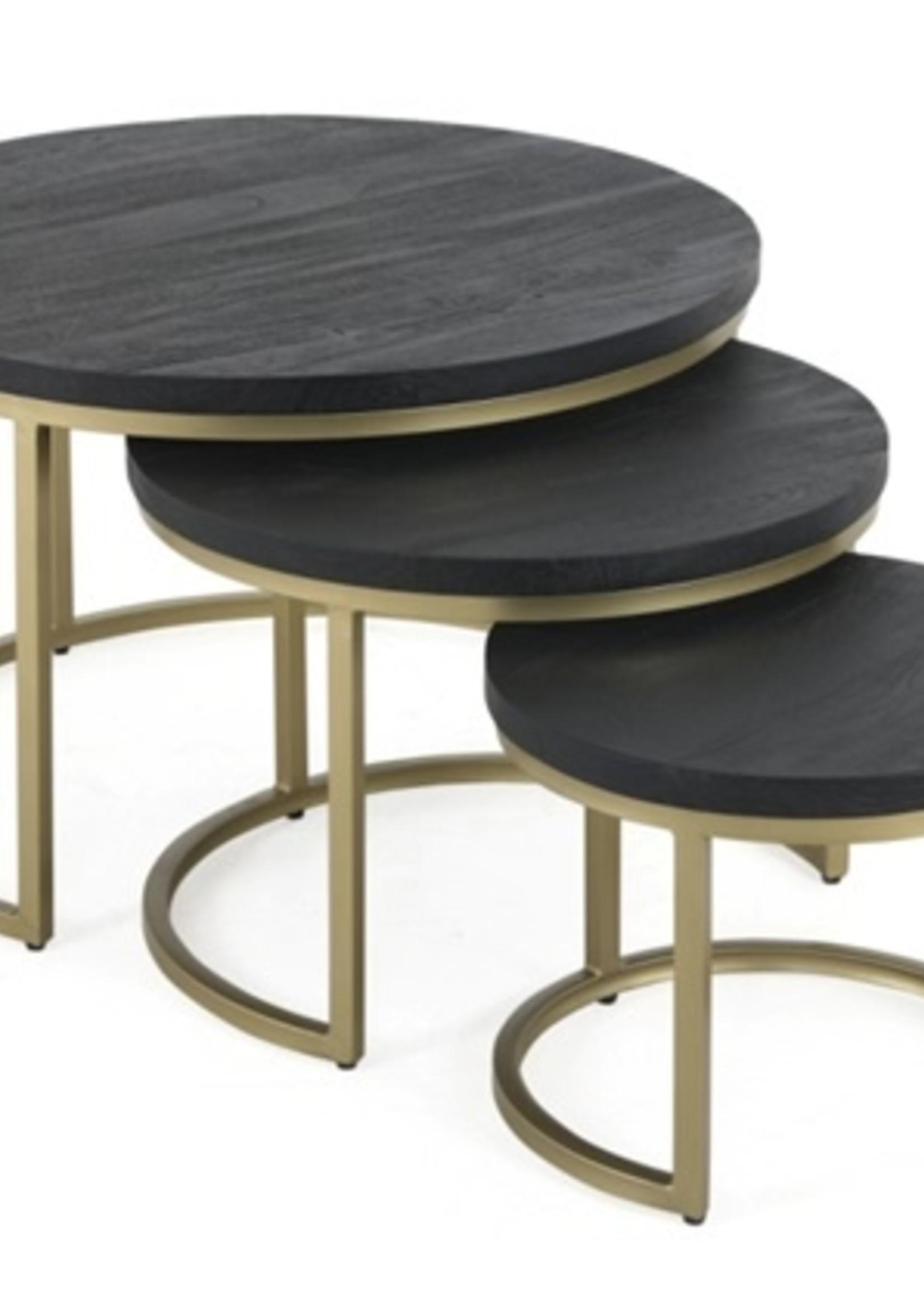 Moods Collection Salontafel zwart hout/goud onderstel maat S