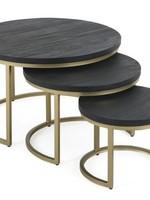 Moods Collection Salontafel zwart hout/goud onderstel maat L