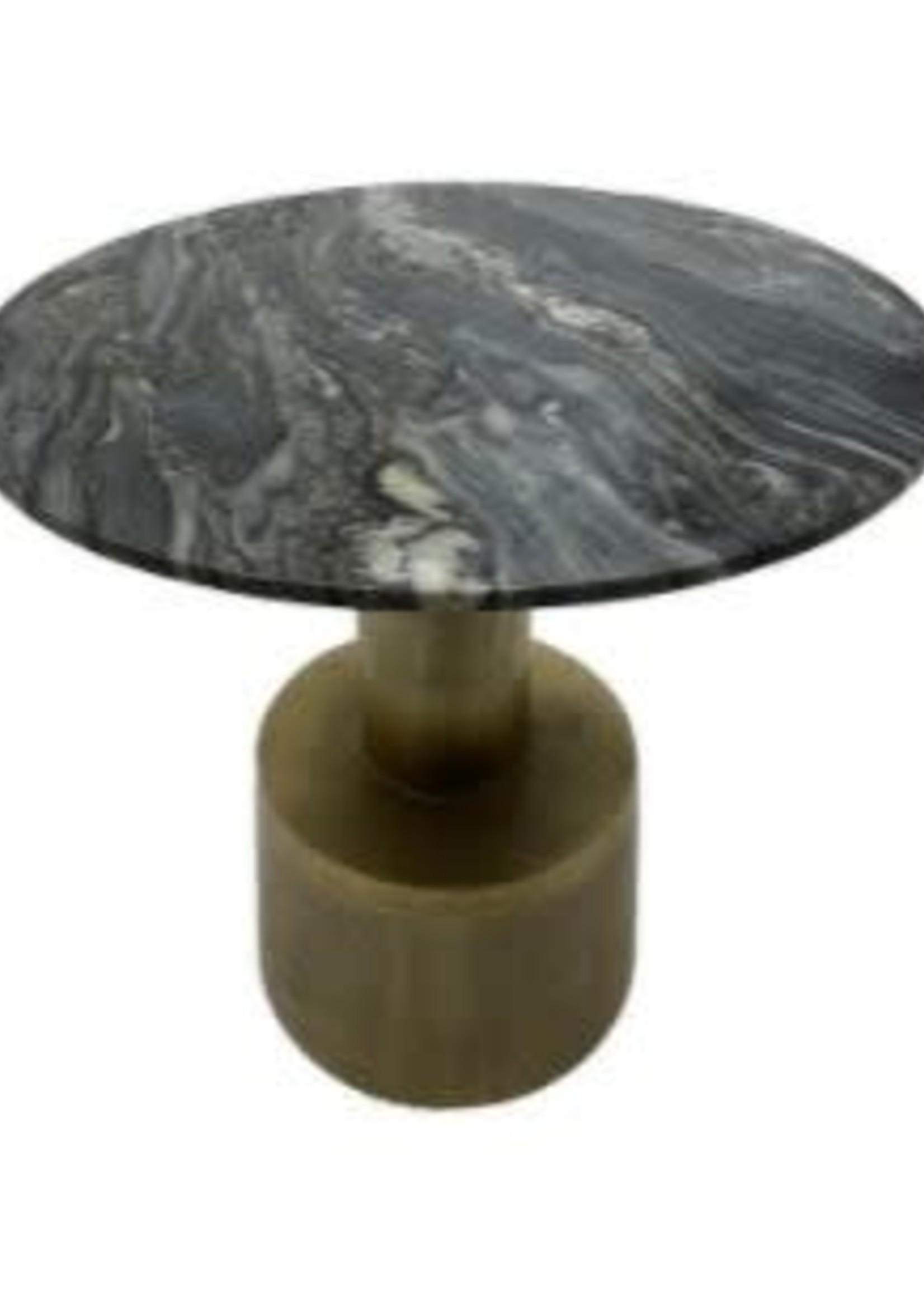 Moods Collection Ronde tafel groen marmer&antique goud alu 60x60x58