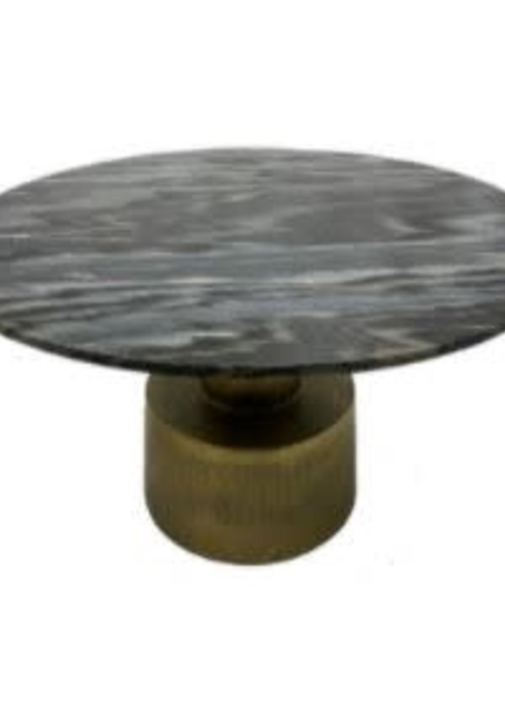 Moods Collection Ronde tafel groen marmer&antique goud alu 77x77x45