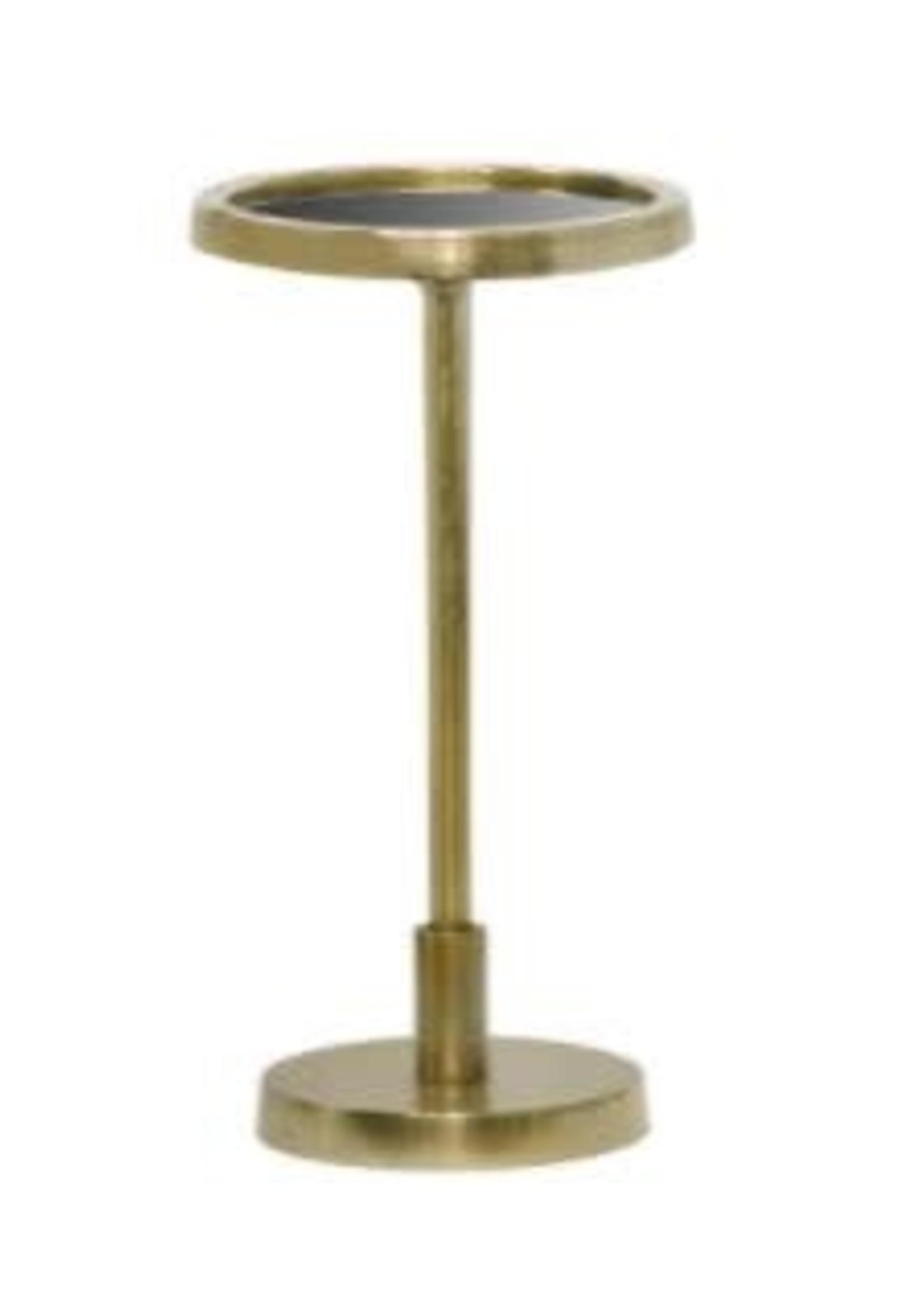 Moods Collection Ronde tafel antique goud&zwart glas 25x46
