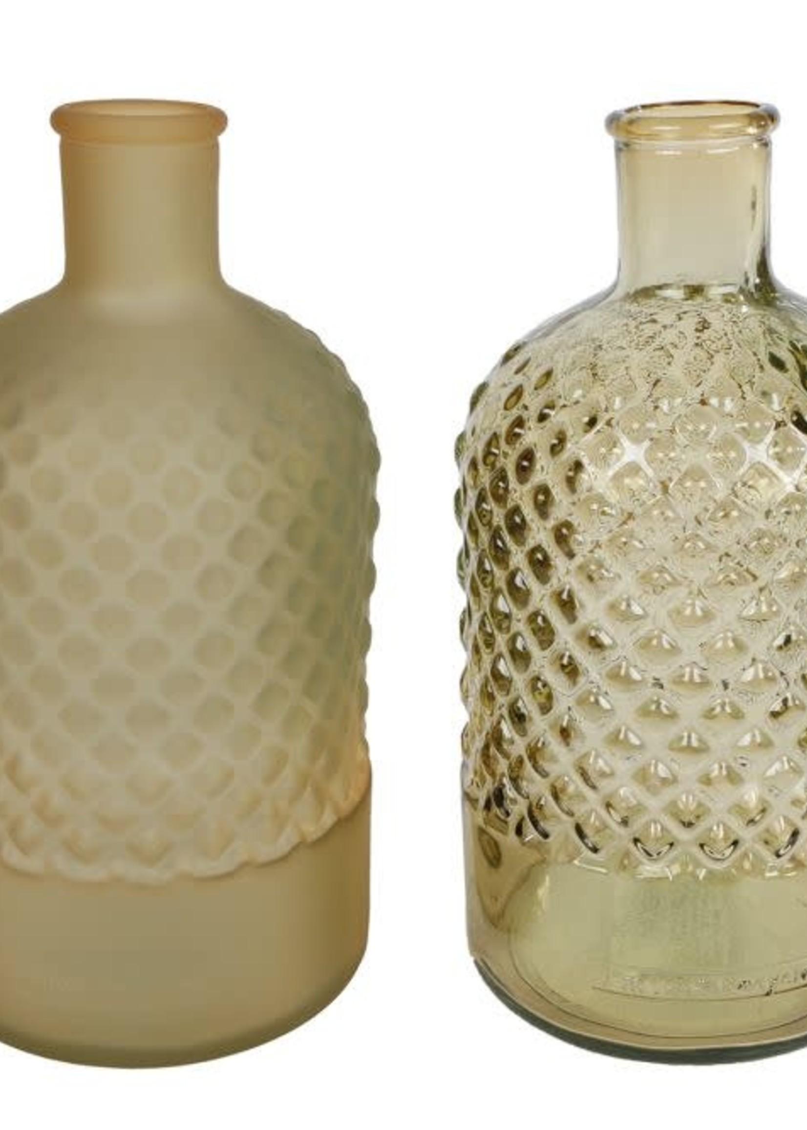 Vaas diamond fles mat/helder messing glas 12x12x22cm