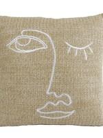 "Kussen ""Face"" amber stof 40x5x40cm"