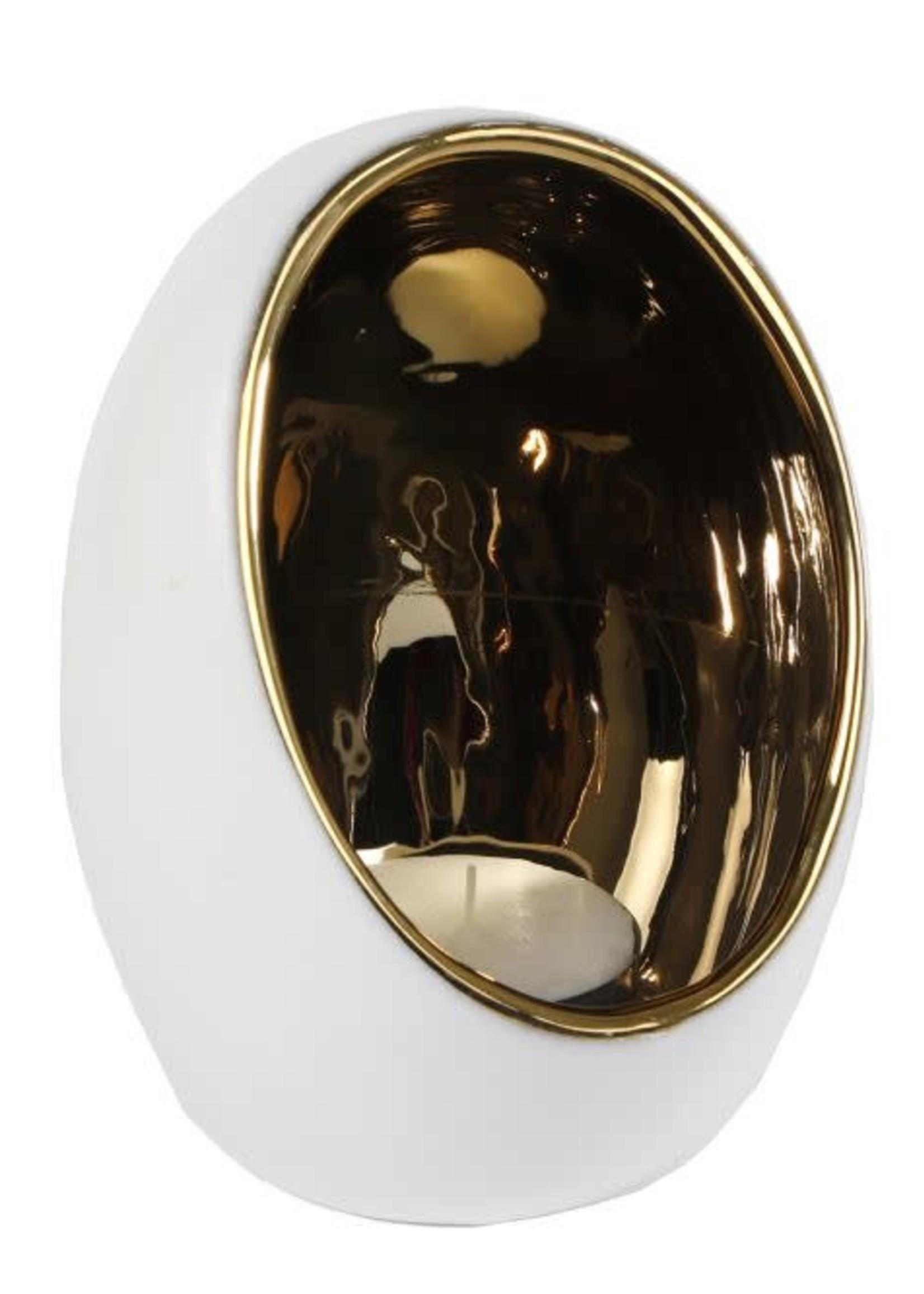 "Theelichth ""Pim"" XXL goud/wit aardew 16x16x21,5cm"