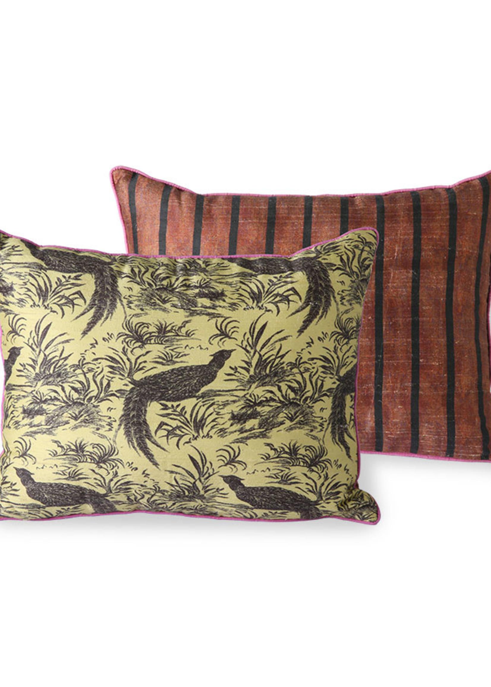 HK living Printed silk cushion Jungle 30x40